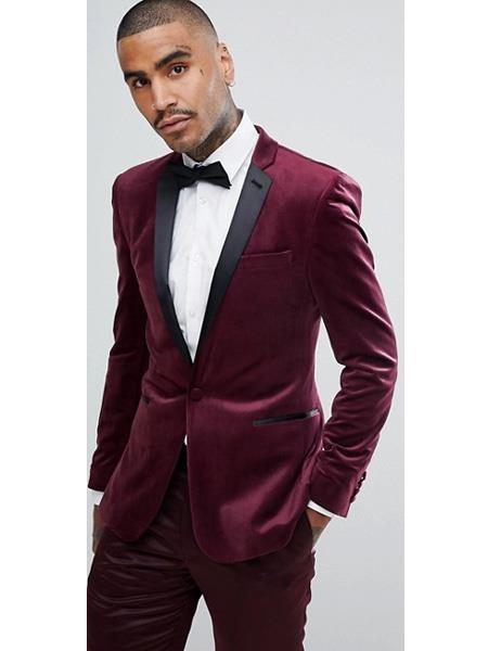 Men's Slim Fit Maroon Color ~ Maroon Suit   ~ Black and Burgundy ~ Wine Tuxedo Velvet Fabric