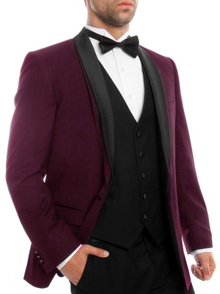 SKU#JS313 Mens Slim Fit Burgundy ~ Wine ~ Maroon Color ~ Maroon Tuxedo