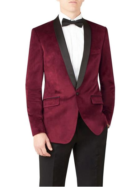 SKU#JS314 Mens Slim Fit Burgundy ~ Wine ~ Maroon Color ~ Maroon Tuxedo