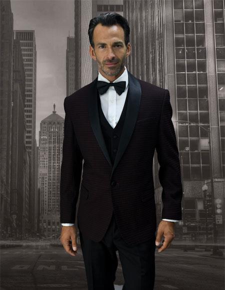 Mens Single Breasted Black Shawl Lapel Burgundy ~ Wine ~ Vested tuxedo Maroon Suit