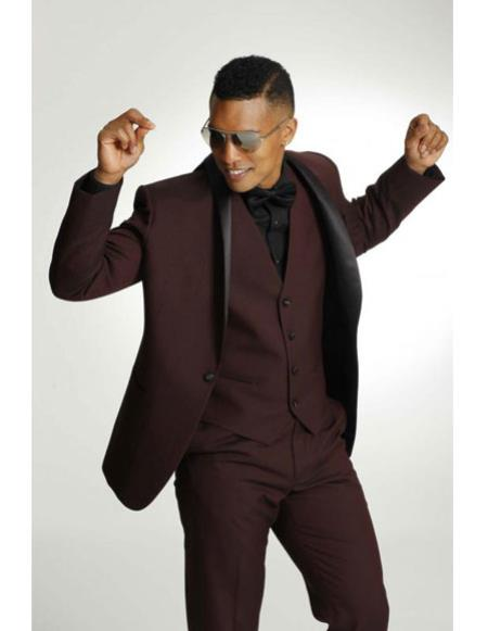 SKU#CH2352 Men's One Button Shawl Black Lapel Tuxedo Burgundy ~ Wine ~ Maroon Color Vested Suit