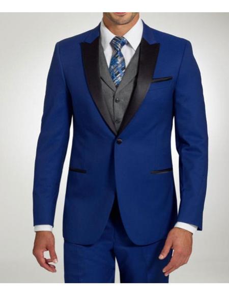 Men's Stylish One Button Peak Black Lapel Cobalt Blue Trim Fit Suit