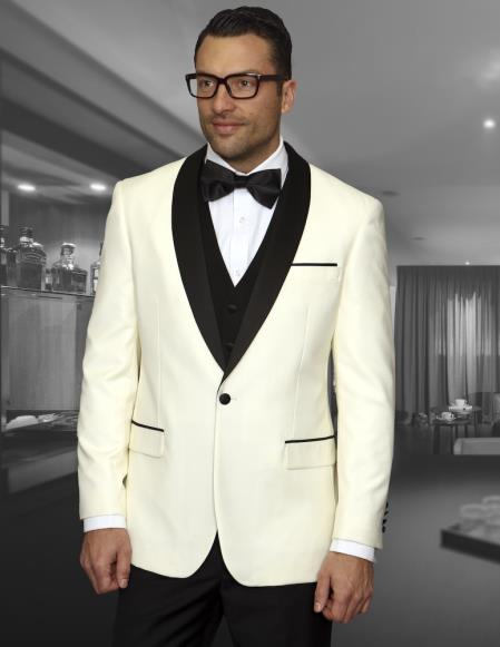 Mens Cream ~ Ivory  ~ Off White Dinner Jacket 1 Button Blazer Sport Coat Black Lapel + Matching Vest & Pants As soon on the picture + Free Shirt & Bowtie