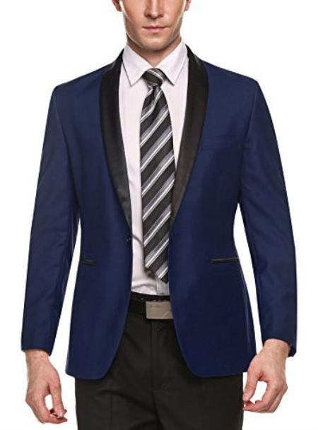 Alberto Nardoni Brand Men's Dark Blue Shawl Lapel 1 Button Slim Fit Stylish Casual Business Blazers