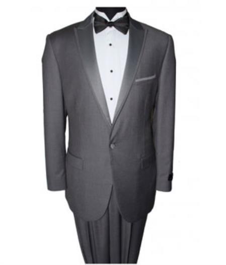 Mens Dark Grey 1 Button Slim Fit Prom Suit