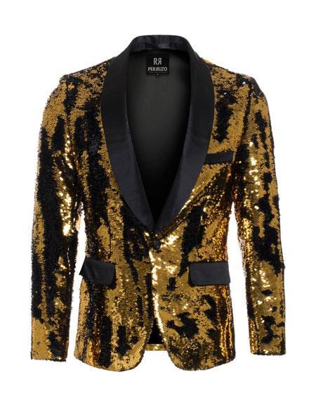 Men's Gold ~ Black high fashion sequin blazer