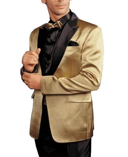 Alberto Nardoni Gold and Black Lapel ~ Champagne Sport Coat ~ Wedding Blazer  Tuxedo Dinner Jacket