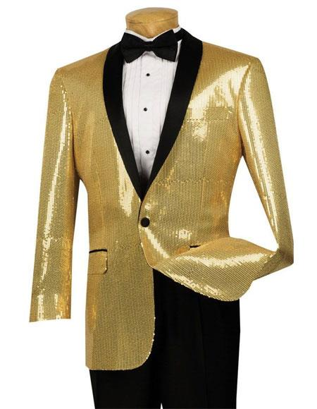 Mens Sequin Gold1 Button Side Vents Classic Fit Dinner Jacket