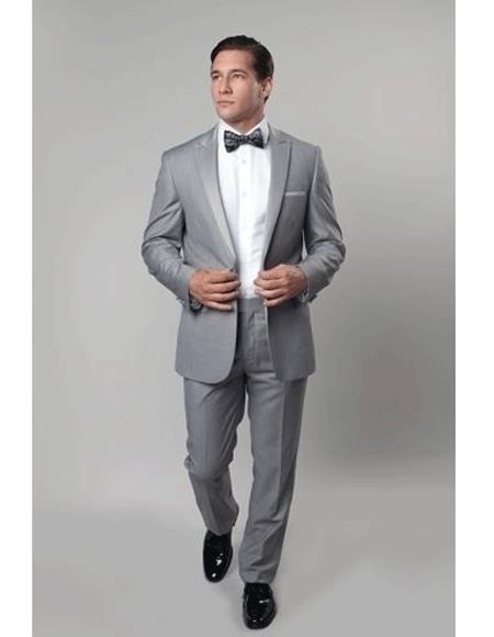 Men's 1 Button Slim Fit Gray Prom Outfit suit Flat Front Pants