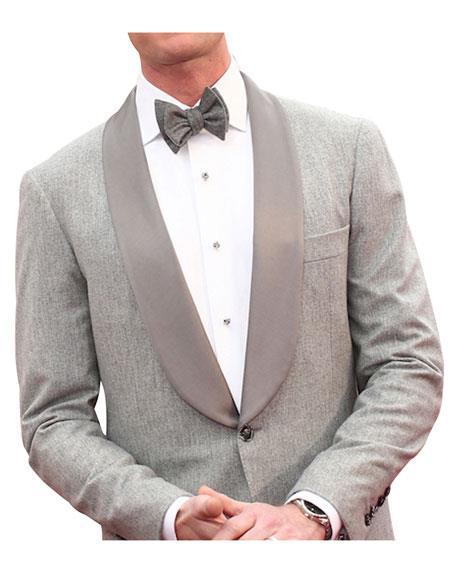 SKU#GD1596 Men's Oscar 1 Button Single Breasted Gray Shawl Lapel Tuxedo