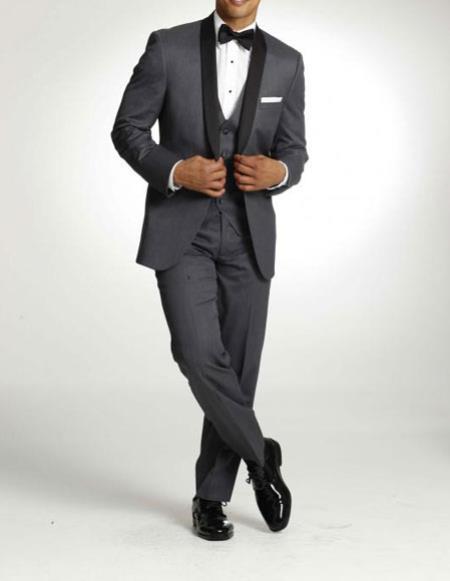 SKU#WTX-Tux-SH Mens One Button Tuxedo Shawl Black Lapel Gray Vested Suit