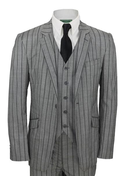 Grey and Black Stripe Vested Suit