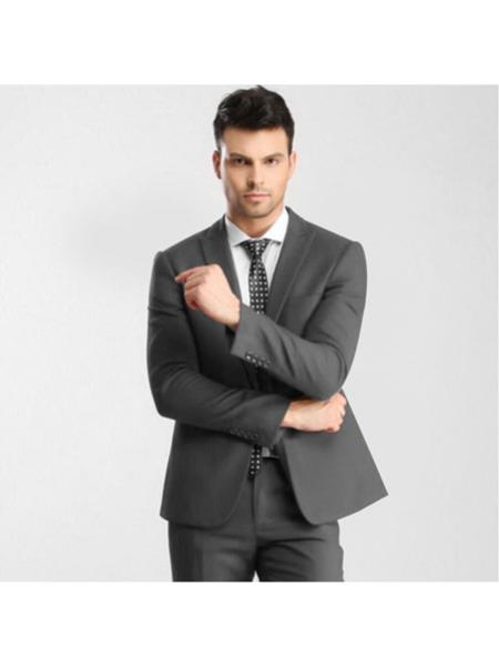 Mens Grey 1 Button Peak Lapel Slim Fitted Suit with Flat Front Pant