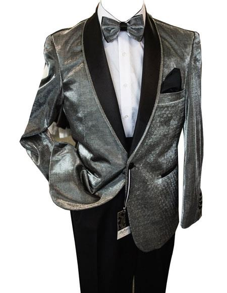 Buy CH2190 Mens Shiny Silver ~ Grey / Gray Tuxedo Dinner Jacket Blazer Sport Coat Jacket Shawl Collar
