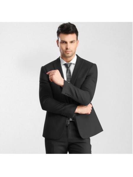 Mens Dark Gray 1 Button Single Breasted Peak Lapel Slim Fitted Suit with Flat Front Pant