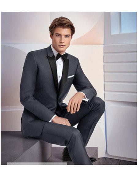 Men's1 Button Black Satin Peak Lapel Grey Suit