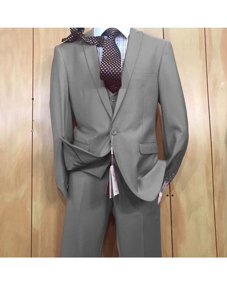 Mens 1 button style Grey Peak Lapel Vested Slim fitted Suit