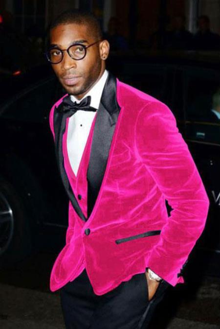 Hot Pink Men's Cheap Priced Velvet ~ Velour Clearance Big And Tall Blazers Blazer / Sport Coat