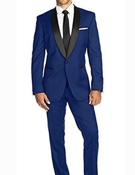 Authentic Braveman Mens One Button Satin Shawl Lapel Slim Fit Solid Single Breasted Indigo ~ Bright Blue Blue Tuxedo Suit