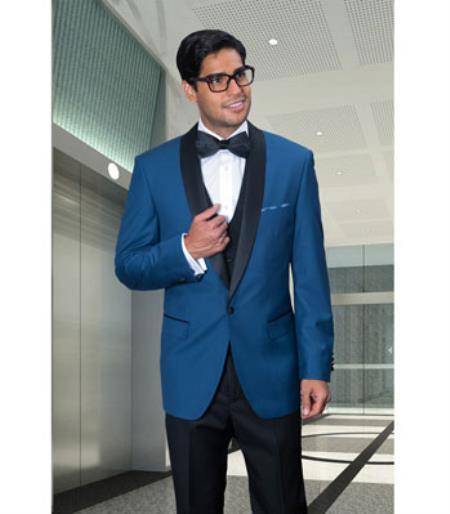 Men's Indigo 1 Button Blazer Sport coat Black Lapel Suit