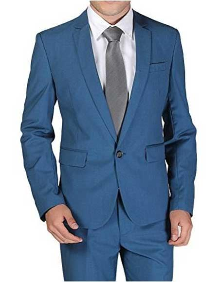 Mens 1 Button Notch Lapel Single Breasted Royal ~ Cobalt ~ Indigo ~ Bright Blue ~ Teal Blue Slim Fit Wool Blend Dress Suits for Men