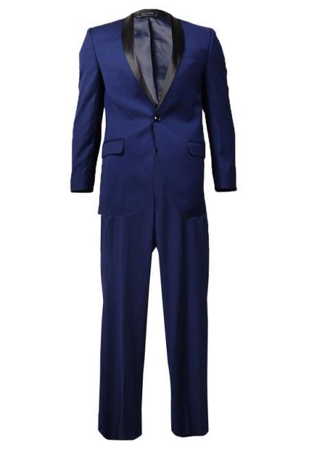Mens Indigo ~ Bright Blue ~ Cobalt Blue ~ Teal Dark Navy Shawl Lapel Tuxedo Suit Black Lapel