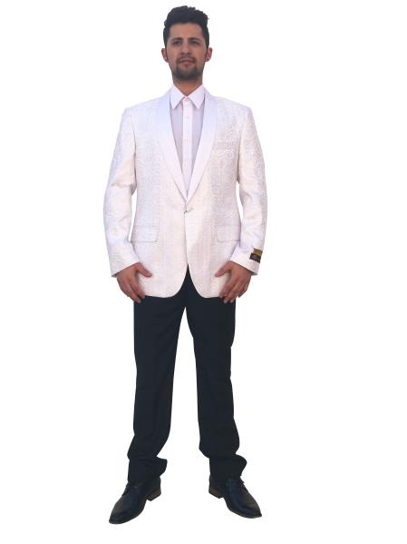 Mens  1 Button Ivory Single Breasted Blazer~Sport Coat