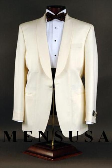New Vintage Tuxedos, Tailcoats, Morning Suits, Dinner Jackets Superfine 120s Wool 1-button Shawl Single-breasted Color Ivory $249.00 AT vintagedancer.com