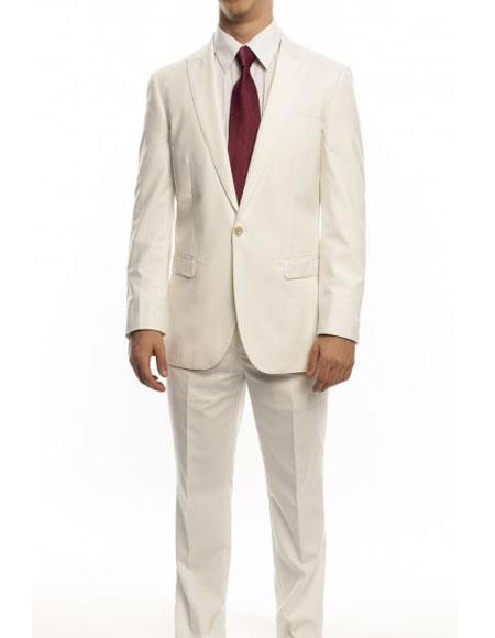 Mens Ivory Single Breasted Ultra Slim Fit Peak Lapel One Button Suit