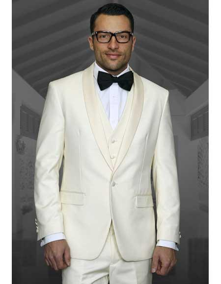 Champagne Suit 1 Button Ivory ~ Cream ~ Off White Tuxedo Shawl Lapel Suit Vested Wool Suit