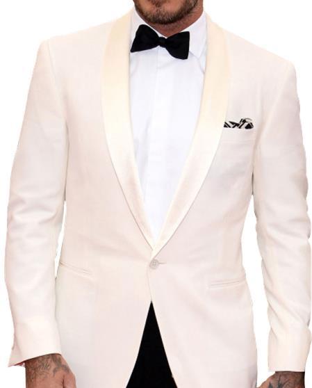 Buy GD1589 Men's 1 Button Single Breasted Shawl Lapel Ivory White Tuxedo