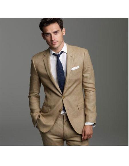 Mens Summer Wedding Khaki ~ dark tan 2 b Button Linen Groomsmen groom Suits Jacket & Pants