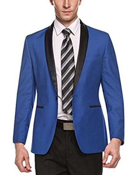 Alberto Nardoni Brand Light Blue Mens Stylish Casual 1 Button Slim Fit Shawl Lapel Coat Blazer