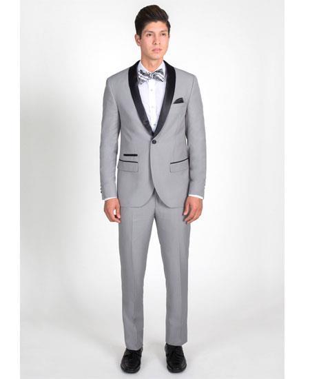SKU#GD1782 Men's 1 Button Light Gray Slim Fit Tuxedo with Black Shawl Lapel