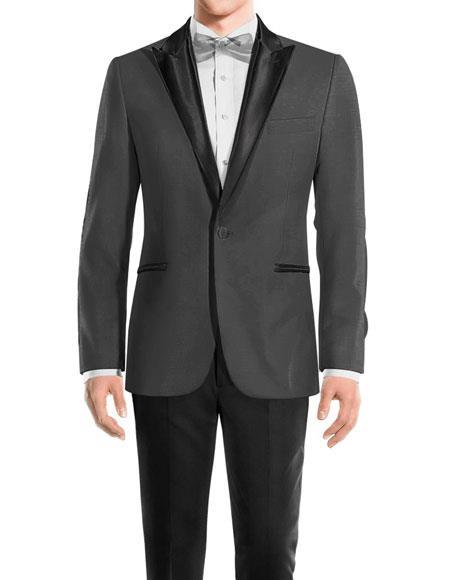 mens One Button Peak Black Lapel Medium Grey Wool tuxedo