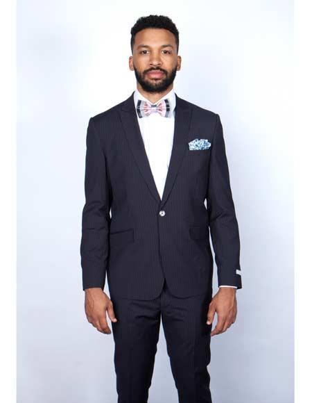 Mens Rossiman Rossi Man Brand Tapered Leg Lower Rise Pants & Get Skinny 1 Button Slim Fit Peak Lapel Pinstripe Dark Navy Blue Suit For Men