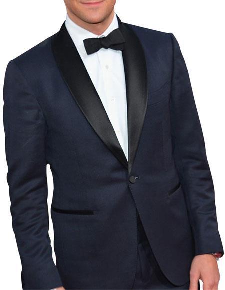 Mens  1 Button Dark Navy Blue Tuxedo Suit