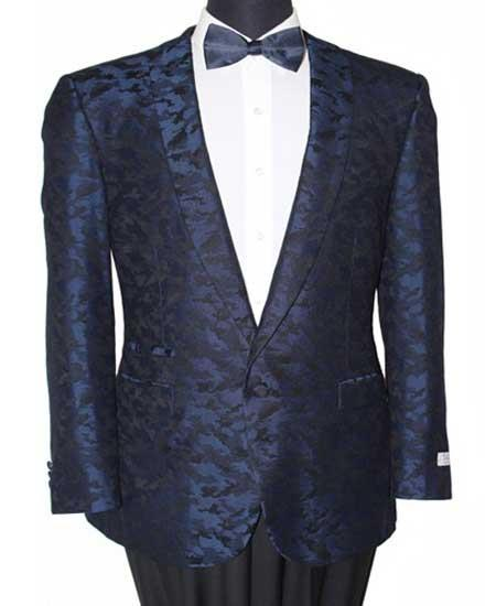 Mens Slim Fit 1 Button Navy Abstract Design Fashion Jacket- Cheap Priced Blazer Jacket For Men Online