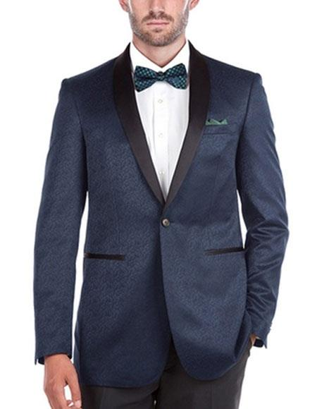 Mens Tuxedo Navy Slim Fit 1 Button Shawl Collar Side Vents Jacket