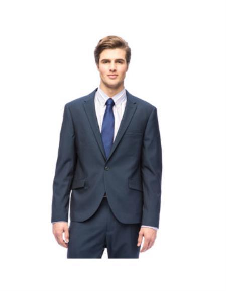 West End Men's Slim Fit Dark Navy Peak Lapel 1-button Suit - Dark Blue Suit Color