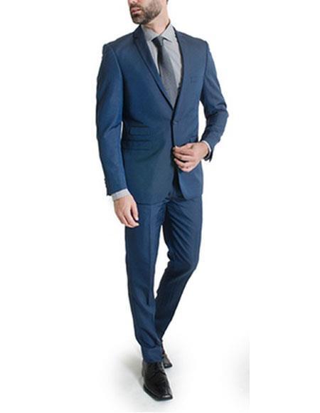 Mens Ticket pocket suit 1 button Slim Fitted Suits Dark Navy