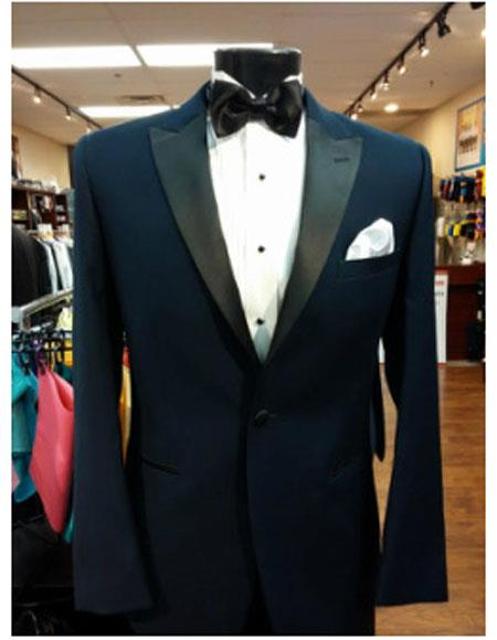 Men's  1 Button Dark Navy Peak Lapel Besom Pockets Suit