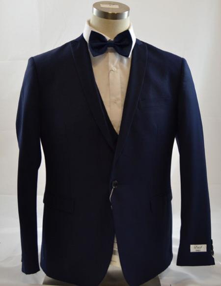 Mens 1 Button Peak Lapel Vested Dark navy suit Peak Lapel 3 Piece Suits Slim Fit Tapper Cut