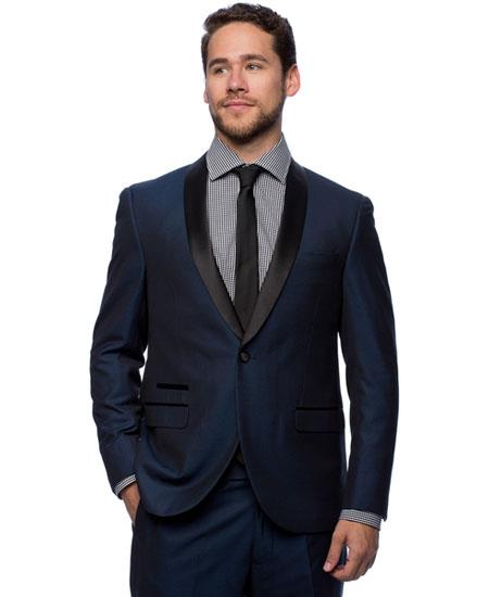 West End Mens 1 Button Dark Navy Young Look Satin Shawl Collar Slim Fit Tuxedo