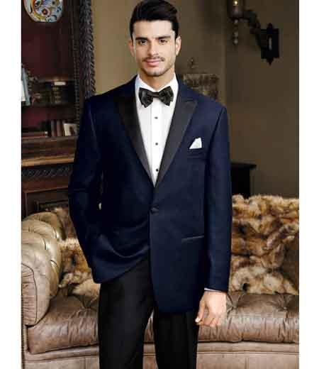 Mens Navy 1 Button Peak Lapel Velvet Slim Fit Single Breasted Tuxedo