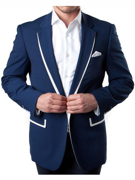 Mens 1 Button Navy Summer Blazer with White Trim Accents Tuxedo Dinner Jacket