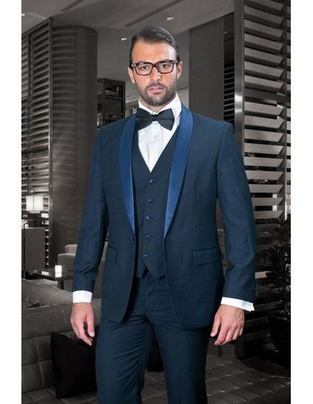 Statement Confidence Mens Dark Navy 1 Button Shawl Lapel 3 Piece Vested Suit With Flat Front Pants