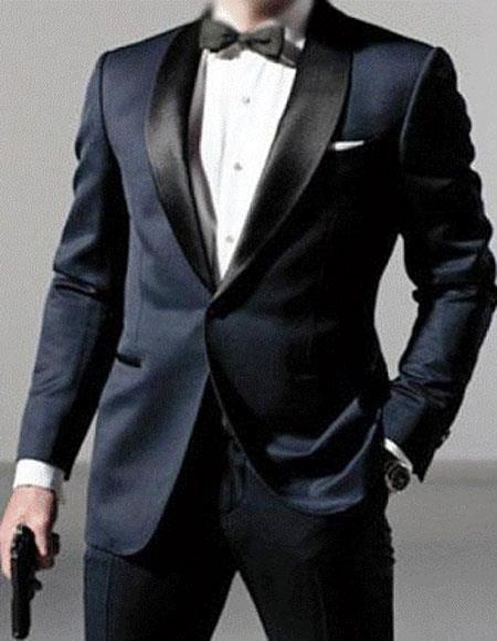 Men's Satin Shawl Lapel Wool Blend Dark navy tuxedo suit