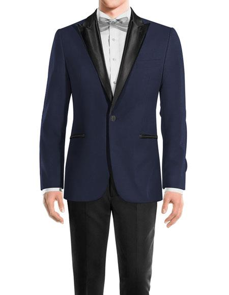 Men's One Button Peak Black Lapel Wool Navy tuxedo