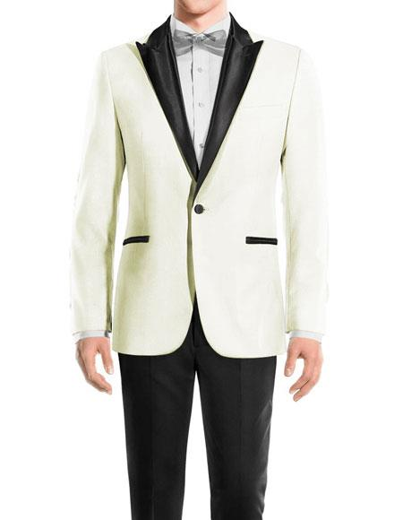 Men's One Button Peak Black Lapel Wool OffWhite tuxedo
